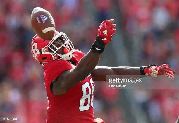 Jerome Washington of the Rutgers Scarlet Knights can't make a catch as the ball grazes off his fingertips against the Purdue Boilermakers during the...