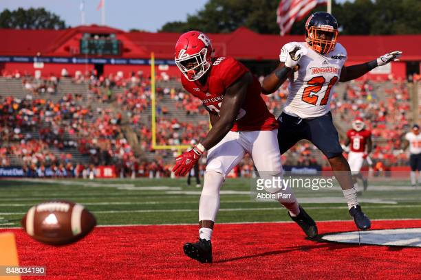 Jerome Washington of the Rutgers Scarlet Knights misses a catch after a defensive pass interference call on Jordan Cry of the Morgan State Bears in...