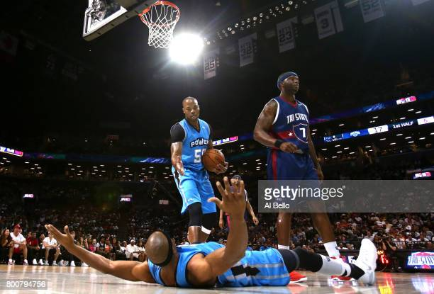 Jerome Williams and Corey Maggette react after call against Jermaine O'Neal of TriState during week one of the BIG3 three on three basketball league...