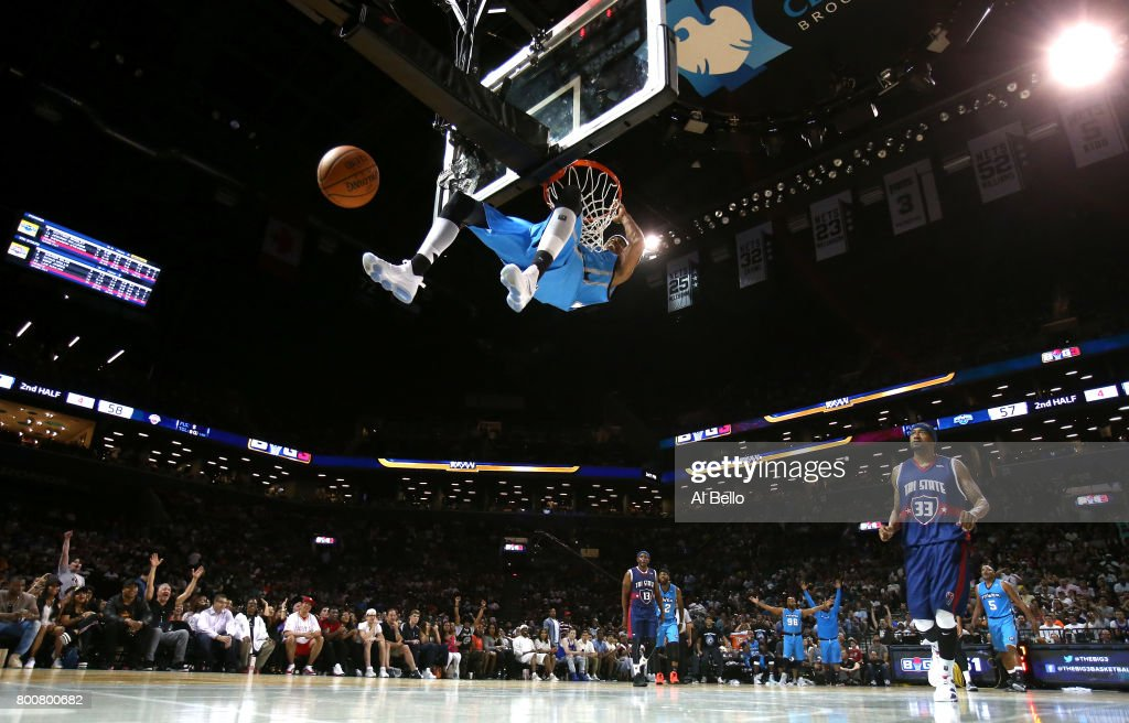 Jerome Williams #13 of Power dunks against Tri-State during week one of the BIG3 three on three basketball league at Barclays Center on June 25, 2017 in New York City.