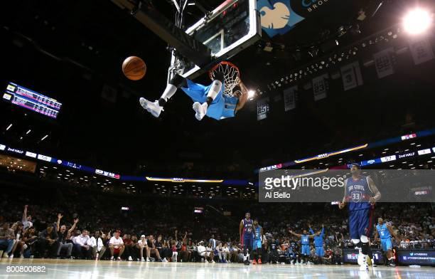 Jerome Williams of Power dunks against TriState during week one of the BIG3 three on three basketball league at Barclays Center on June 25 2017 in...