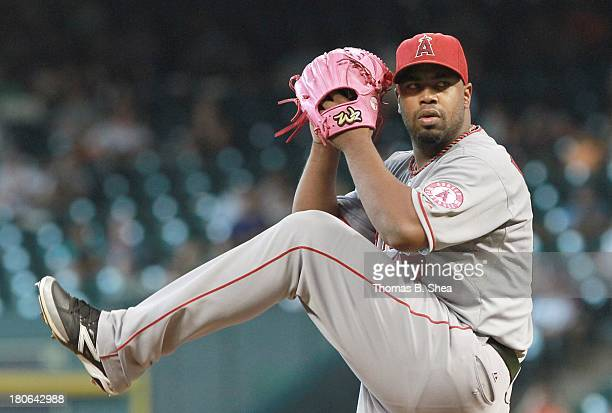 Jerome Williams of the Los Angeles Angels of Anaheim in the wind up against the Houston Astros in the first inning on September 15 2013 at Minute...