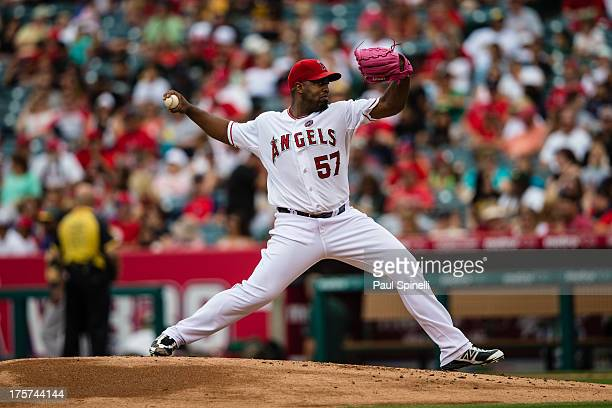 Jerome Williams of the Los Angeles Angels of Anaheim pitches during the game against the Oakland Athletics on Sunday July 21 2013 at Angel Stadium in...