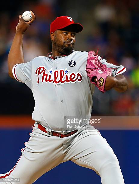 Jerome Williams of the Philadelphia Phillies on the mound against the New York Mets on August 30 2014 at Citi Field in the Flushing neighborhood of...
