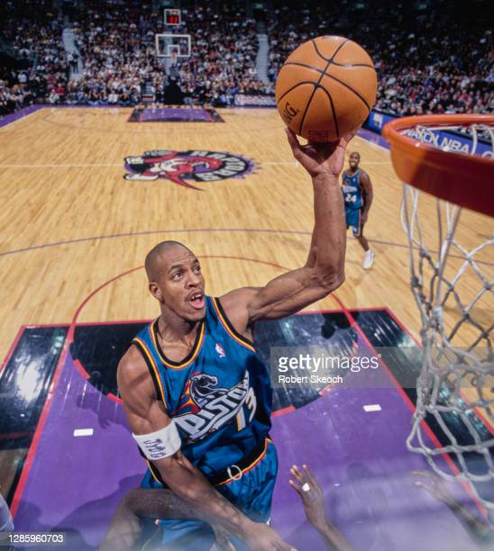 Jerome Williams, Power Forward for the Detroit Pistons drives to the basket during the NBA Central Division basketball game against the Toronto...