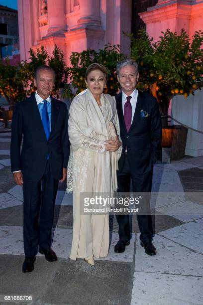 Jerome Zieseniss SAI Farah Pahlav and Matteo Corvino attend the Cini party during the 57th International Art Biennale on May 10 2017 in Venice Italy