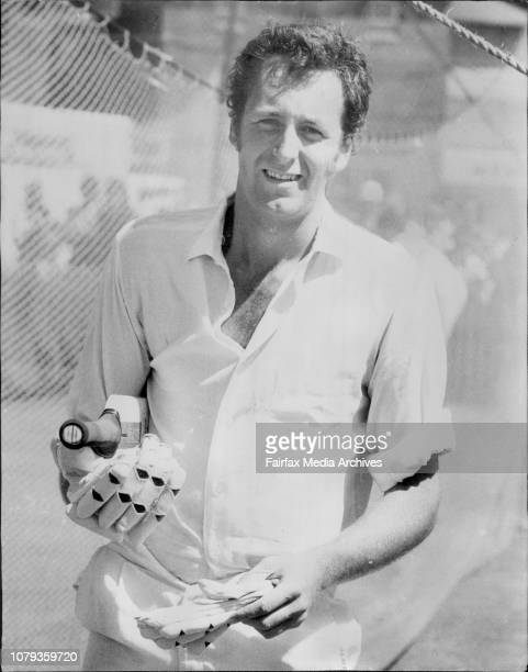 Jeromy ConeyNew Zealand Cricketers practisizing for tomorrows Test match against Australia at ***** this afternoon January 04 1974