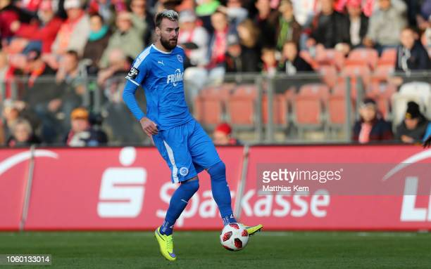 Jeron Al Hazaimeh of Lotte runs with the ball during the 3 Liga match between FC Energie Cottbus and VfL Sportfreunde Lotte at Stadion der...