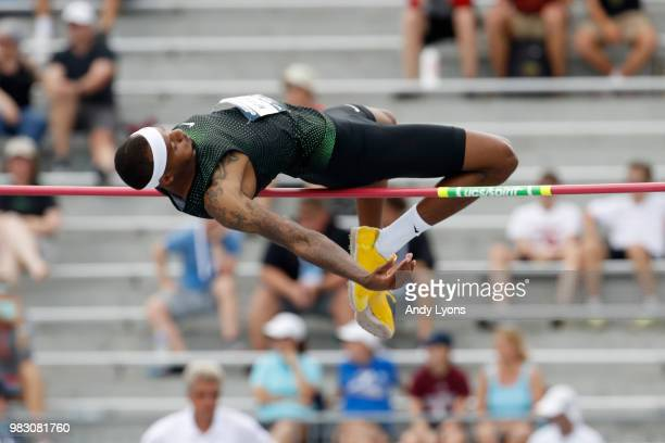 Jeron Robinson clears the bar in the Mens High Jump Final during day 4 of the 2018 USATF Outdoor Championships at Drake Stadium on June 24 2018 in...