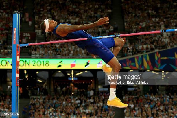 Jeron Robinson of the USA competes in the Men's High Jump during day one of the Athletics World Cup London at the London Stadium on July 14, 2018 in...