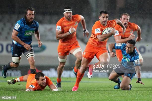 Jeronimo De la Fuente of the Jaguares takes a gap during the Super Rugby round 11 match between the Blues and Jaguares at Eden Park on April 28 2018...