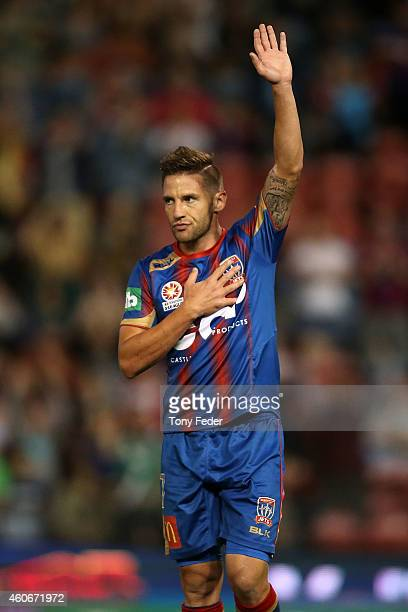 Jeronimo of Newcastle celebrates a goal during the round 12 ALeague match between the Newcastle Jets and the Adelaide United at Hunter Stadium on...