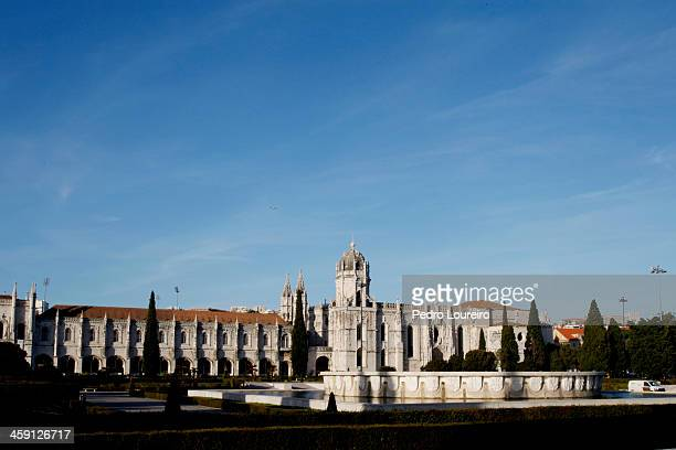Jeronimos Monastery is seen on December 23 2013 in Lisbon Portugal The monastery is one of the most prominent monuments of the Manuelinestyle...