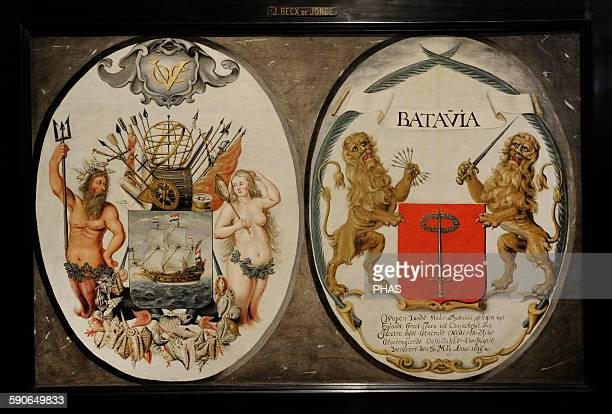 Jeronimus Becx Dutch artist The Arms of the Dutch East India Company and of the Town of Batavia 1651 Rijksmuseum Amsterdam Holland