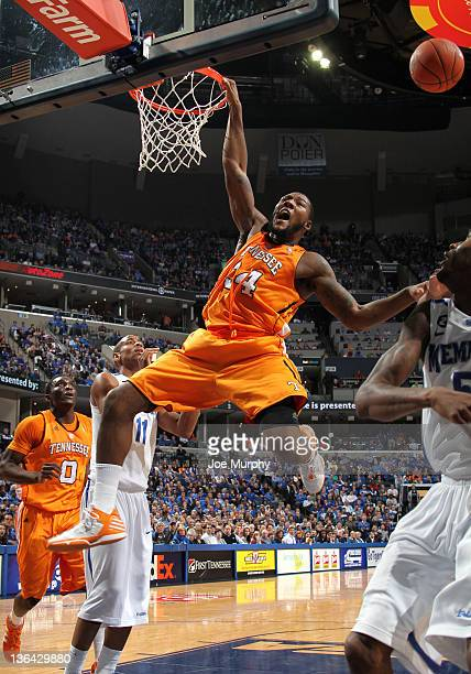 Jeronne Maymon of the Tennessee Vols misses a dunk attempt against the Memphis Tigers on January 4 2012 at FedExForum in Memphis Tennessee