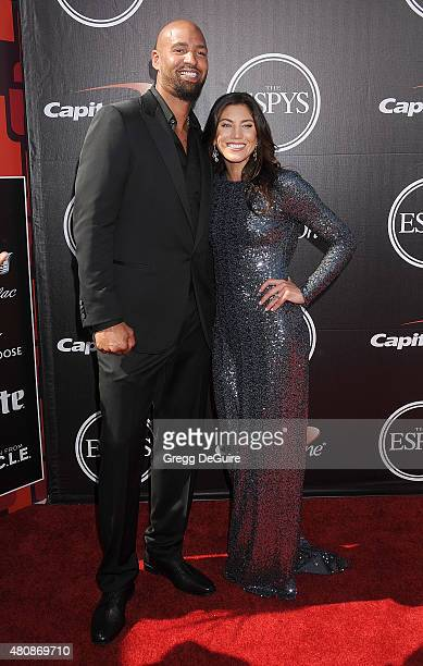 Jerramy Stevens and Hope Solo arrive at The 2015 ESPYS at Microsoft Theater on July 15 2015 in Los Angeles California