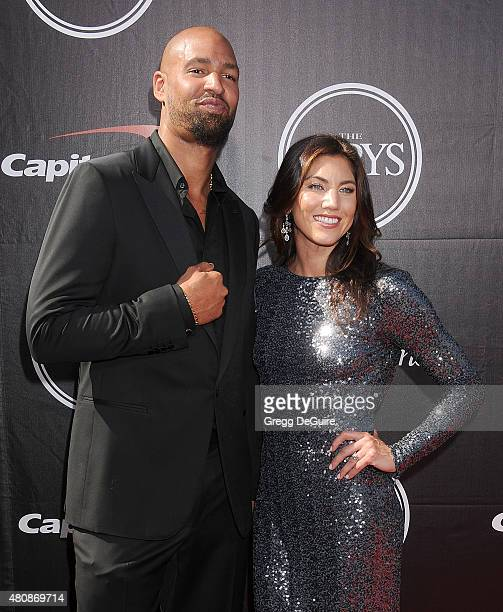 Jerramy Stevens and Hope Solo arrive at The 2015 ESPYS at Microsoft Theater on July 15, 2015 in Los Angeles, California.
