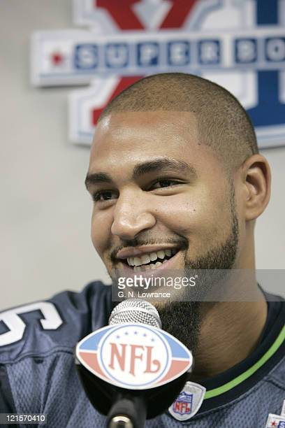 Jerramy Stevens during Seattle Seahawks media day for Super Bowl XL at Ford Field in Detroit Michigan on January 31 2006