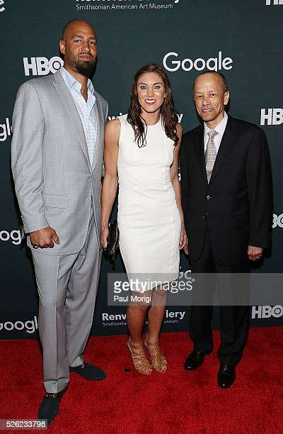 Jerramy Stevens Hope Solo and Rich Nichols attend the Google/HBO celebration of All The Way during White House Correspondents' weekend at the Renwick...