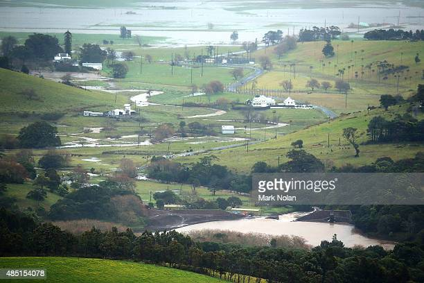 Jerrara dam spillls water during flooding on August 25 2015 in Kiama Australia Residents downstreamm of the dam have been evacuated following the...
