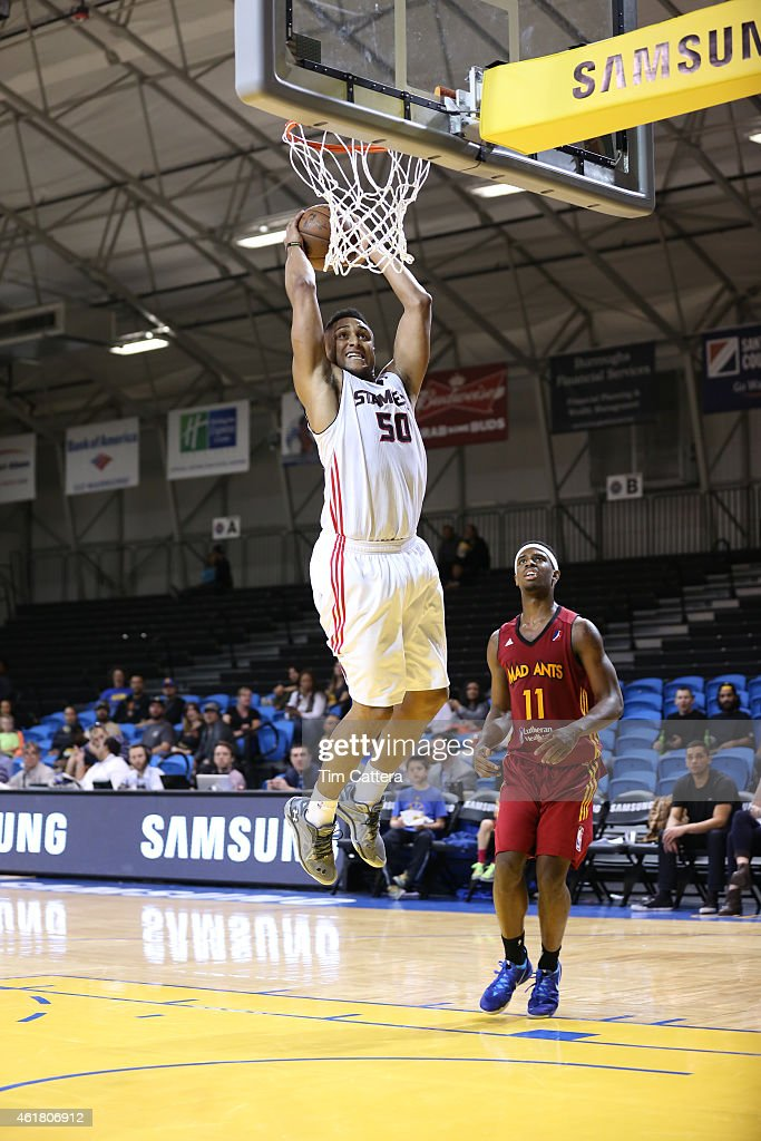 Jerrelle Benimon #50 of the Idaho Stampede dunks the ball against the Fort Wayne Mad Ants during the NBA D-League Showcase game on January 19, 2015 at Kaiser Permanente Arena in Santa Cruz, California.