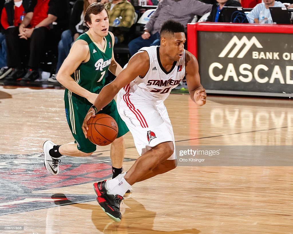 Jerrelle Benimon #50 of the Idaho Stampede handles the ball against the Reno Bighorns during an NBA D-League game on November 28, 2014 at CenturyLink Arena in Boise, Idaho.