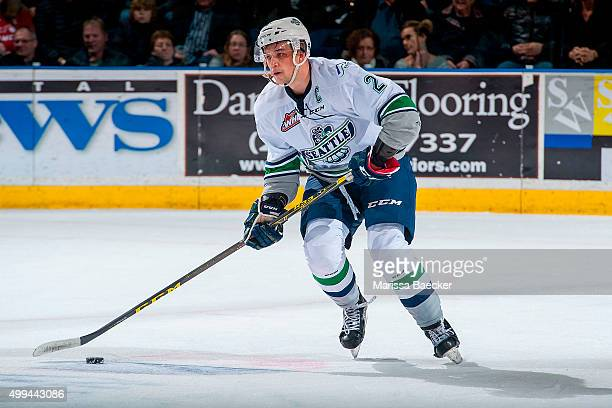 Jerret Smith of Seattle Thunderbirds skates with the puck against the Kelowna Rockets on November 25 2015 at Prospera Place in Kelowna British...