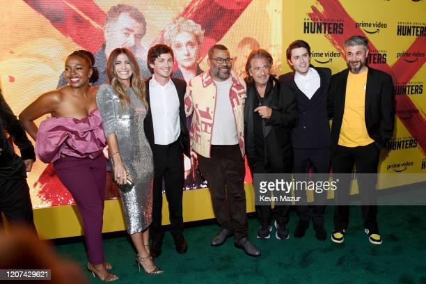 Jerrika Hinton Nikki Toscano Logan Lerman Jordan Peele Al Pacino David Weil and Win Rosenfeld attend the World Premiere Of Amazon Original Hunters at...