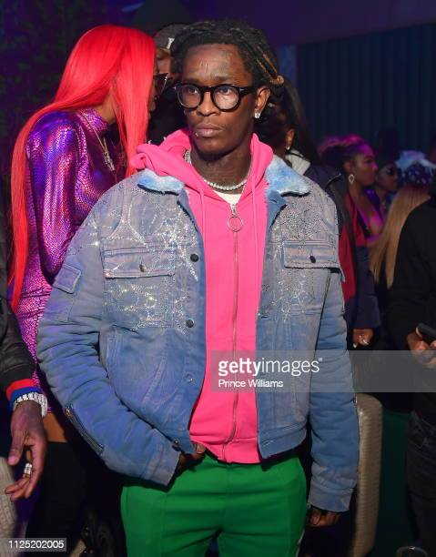 Jerrika Karlae and Young Thug attend Jerrika Karlae single release party for Rixch Bitch at Elleven45 on January 26 2019 in Atlanta Georgia