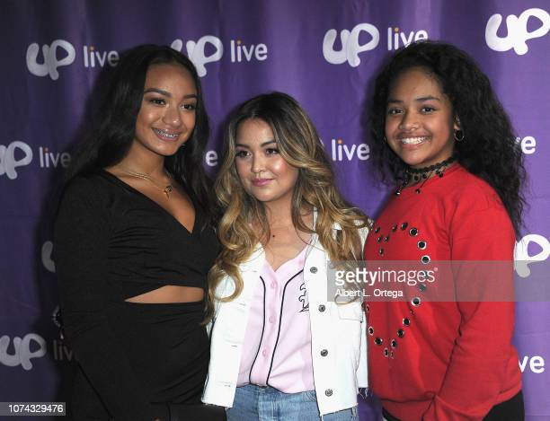 Jerrika Malae Tiana Kocher and Nancy Fifita attend UpLive Hosts Party Concert held at Starwest Studios on December 16 2018 in Burbank California