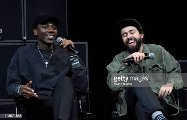 Jerrod Carmichael and Ramy Youssef speak onstage during the Hulu Ramy FYC event at NeueHouse Los Angeles on May 13 2019 in Hollywood California