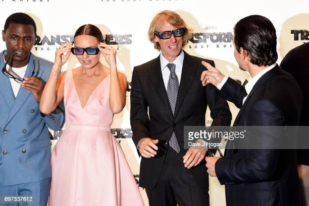 """Jerrod Carmichael, Laura Haddock, Michael Bay and Mark Wahlberg attend the global premiere of """"Transformers: The Last Knight"""" at Cineworld Leicester..."""