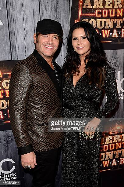 Jerrod Niemann and Morgan Petek attend the 2014 American Country Countdown Awards at Music City Center on December 15 2014 in Nashville Tennessee
