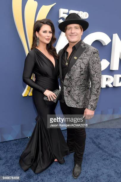 Jerrod Niemann and Morgan Petek attend the 53rd Academy of Country Music Awards at MGM Grand Garden Arena on April 15 2018 in Las Vegas Nevada