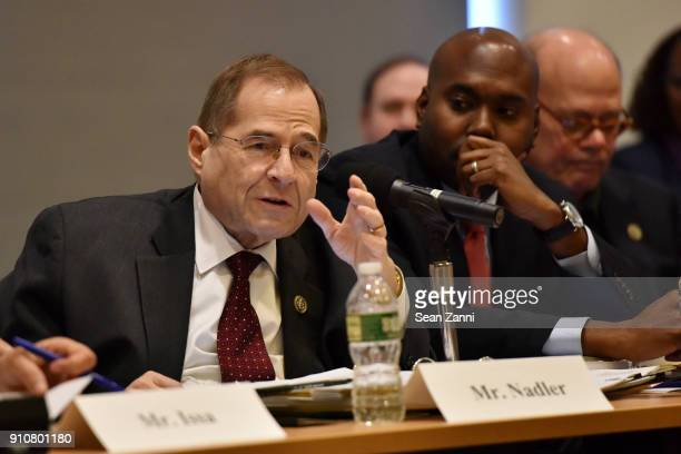 Jerrold Nadler participates inthe 60th Annual GRAMMY Awards House Judiciary Hearing at Fordham Law School on January 26 2018 in New York City
