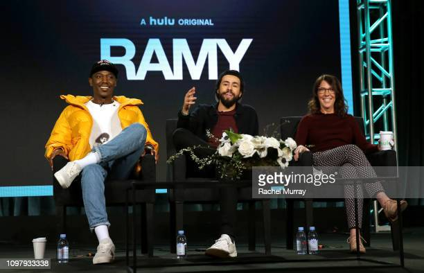 Jerros Carmichael Ramy Youssef and Bridget Bedard of 'Ramy' speaks onstage during the Hulu Panel during the Winter TCA 2019 on February 11 2019 in...