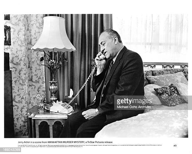 Jerry Adler talks on the phone in a scene from the film 'Manhattan Murder Mystery' 1993