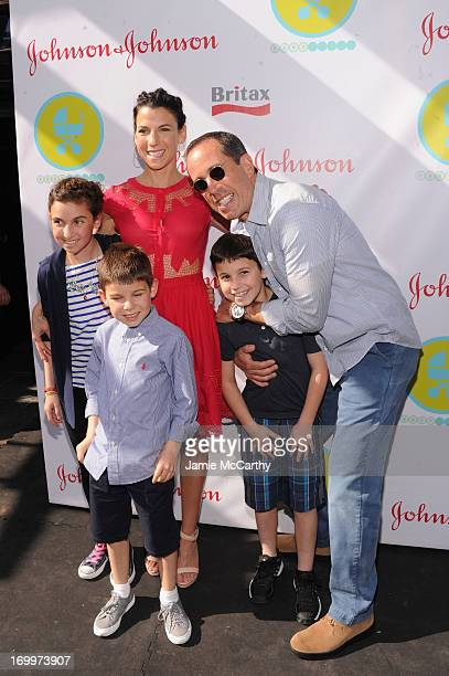 Jerry and Jessica Seinfeld pose with their children Sascha, Shepherd Kellen and Julian Kal at the 2013 Baby Buggy Bedtime Bash hosted by Jessica and...