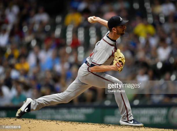 Jerry Blevins of the Atlanta Braves pitches the ball against the Milwaukee Brewers at Miller Park on July 16 2019 in Milwaukee Wisconsin