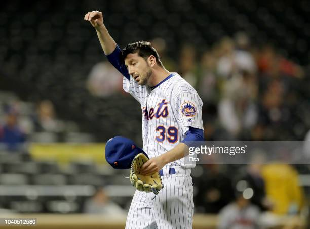 Jerry Blevins of the New York Mets is pulled in the eighth inning against the Atlanta Braves on September 252018 at Citi Field in the Flushing...