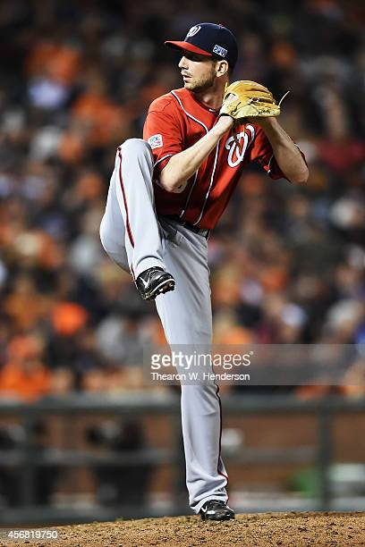 Jerry Blevins of the Washington Nationals pitches in the seventh inning against the San Francisco Giants during Game Four of the National League...