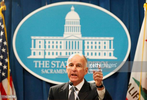 Jerry Brown governor of California introduces his revised 20112012 fiscal year budget proposal at the State Capitol in Sacramento California US on...
