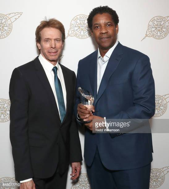 Jerry Bruckheimer and honoree Denzel Washington attend the 54th Annual International Cinematographers Guild Publicists Awards at The Beverly Hilton...