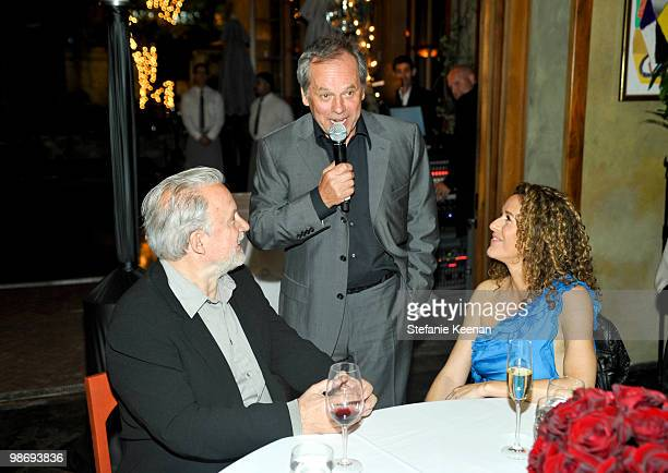 Jerry Bruckheimer Giorgio Moroder and Francisca Moroder attend Giorgio Moroder's Surprise Birthday Party at Spago on April 26 2010 in Beverly Hills...