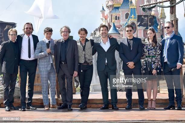 Jerry Bruckheimer Joachim Ronning Brenton Thwaites Geoffrey Rush Johnny Depp Javier Bardem Orlando Bloom Kaya Scodelario and Espen Sandberg attend...