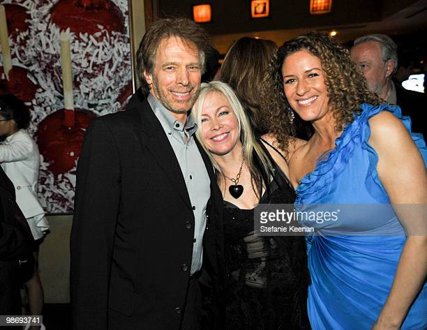 Jerry Bruckheimer Terri Nunn and Francisca Moroder attend Giorgio Moroder's Surprise Birthday Party at Spago on April 26 2010 in Beverly Hills...