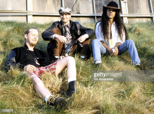 Jerry Cantrel Layne Staley and Mike Inez of Alice in Chains backstage at Lollapalooza 93 at Shoreline Amphitheater in Mountain View Calif on June...