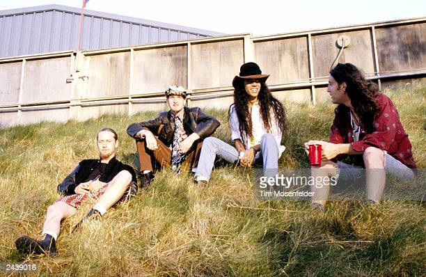 Jerry Cantrell Layne Staley Mike Inez and Sean Kinney of Alice in Chains Backstage at Lollapalooza 93 at Shoreline Amphitheater in Mountain View...