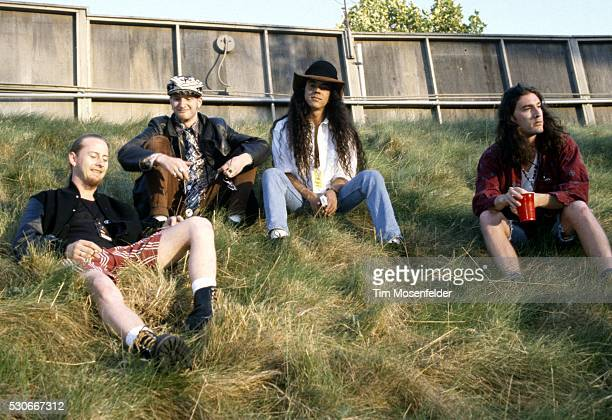 Jerry Cantrell Layne Staley Mike Inez and Sean Kinney of Alice in Chains pose at Lollapalooza 1993 at Shoreline Amphitheatre on June 23 1993 in...