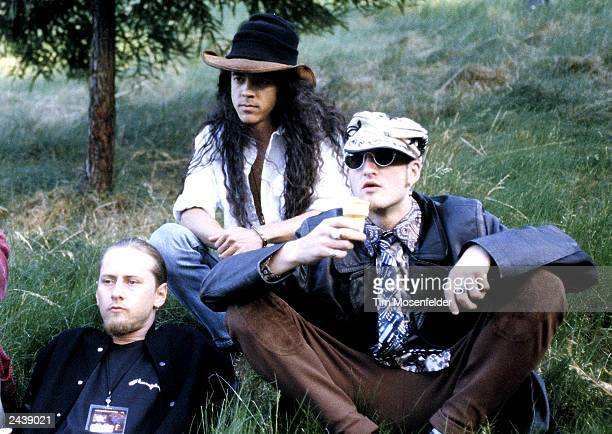 Jerry Cantrell Mike Inez and Layne Staley of Alice in Chains backstage at Lollapalooza 93 at Shoreline Amphitheater in Mountain View Calif on June...